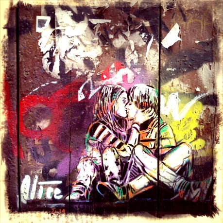 Image of love in the Raval by Alice Pasquini